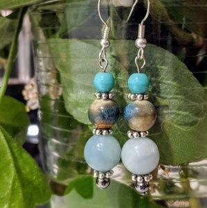 Jewelry - Handmade glass and agate beads. Nickel Free